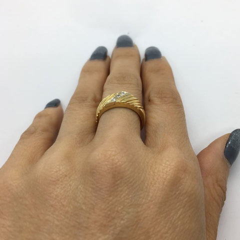 Image of Luxinelle 3 Diamond Yellow Gold Statement Ring 14K By Luxinelle® Jewelry - Ring