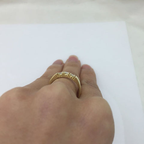 Image of Luxinelle 3 Princess Cut Diamond Band 14K Yellow Gold Ring For Stacking Or Wedding By Luxinelle® Jewelry - Ring