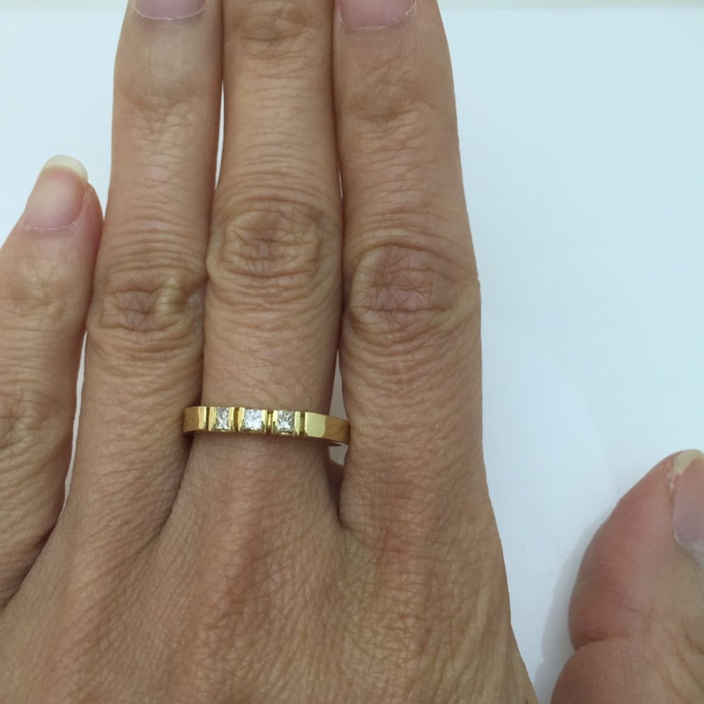 Luxinelle 3 Princess Cut Diamond Band 14K Yellow Gold Ring For Stacking Or Wedding By Luxinelle® Jewelry - Ring