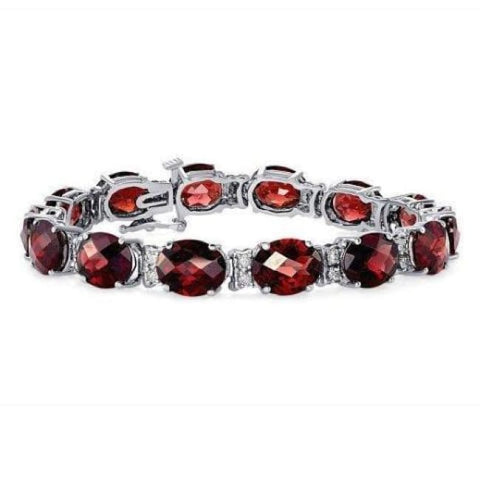 Luxinelle 35.6 Carat Red Garnet 14K White Gold - Oval Checkerboard Cut - Bracelet