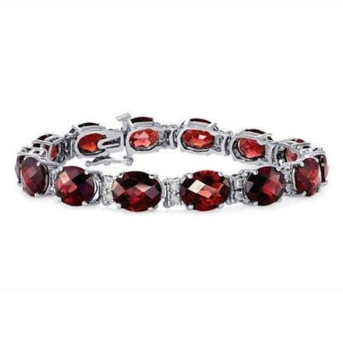 Image of Luxinelle 35.6 Carat Red Garnet 14K White Gold - Oval Checkerboard Cut - Bracelet