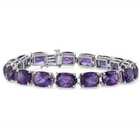 Luxinelle 37.2 Carat Elongated Cushion Amethyst Chain Bracelet -14K White Gold 7 Inches - Bracelet