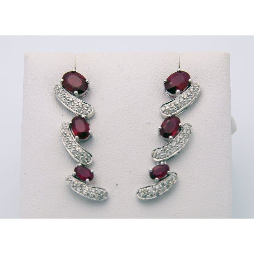 Luxinelle 4.3 Carat Red Ruby And Pave Diamond Drop Earrings 18K White Gold - Earrings