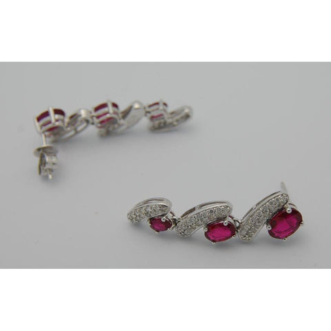 Image of Luxinelle 4.3 Carat Red Ruby And Pave Diamond Drop Earrings 18K White Gold - Earrings