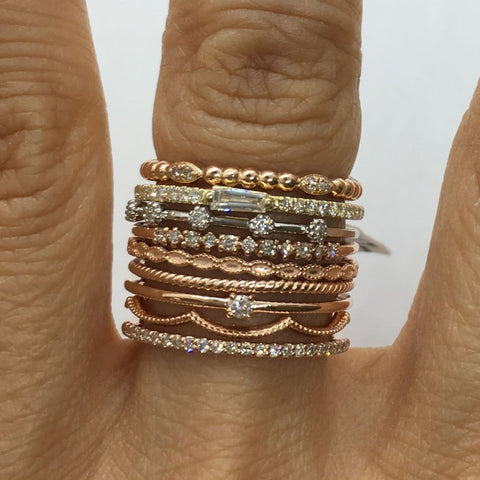 Image of Luxinelle 6 Diamond Spaced Band In 14K White Yellow Or Rose Gold - Diamond Stacking Ring By Luxinelle® Jewelry - Ring