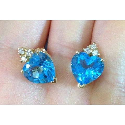 Luxinelle 8.42 Carat Blue Topaz Heart Stud Earrings - 14K Yellow Gold - Earrings