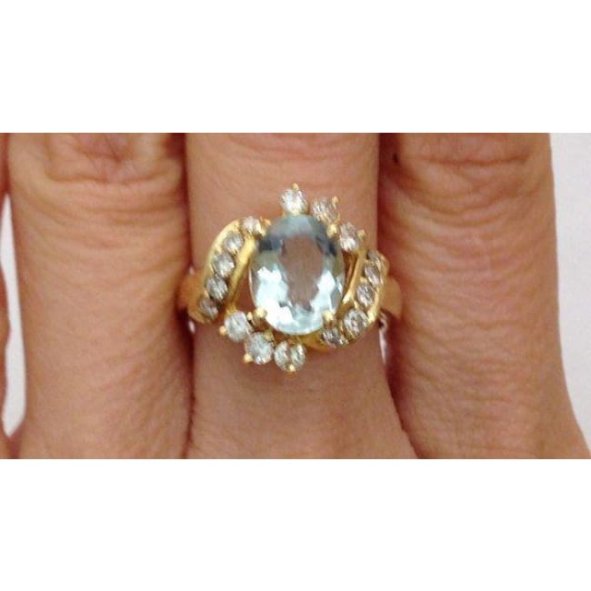 Luxinelle Aquamarine Diamond Ring - 14K Yellow Gold Diamond Accents Oval By Luxinelle® Jewelry - Ring