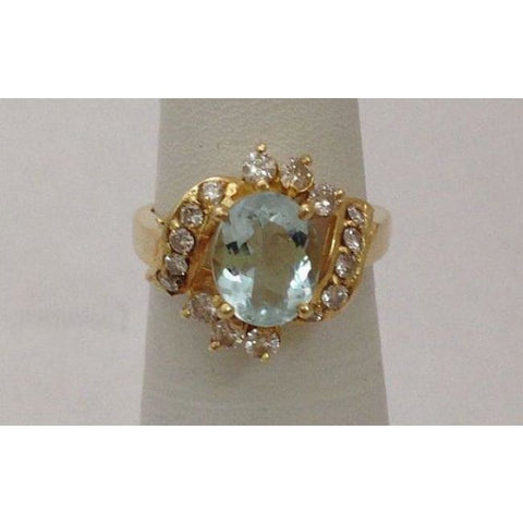 Image of Luxinelle Aquamarine Diamond Ring - 14K Yellow Gold Diamond Accents Oval By Luxinelle® Jewelry - Ring