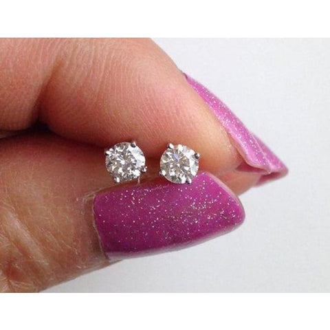 Image of Luxinelle Baby Diamond Earrings 0.15 Carat Diamond Solitaires For Infants & Children (Close Ended Screwback Closure) 18K - Earrings