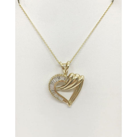 Luxinelle Baguette Diamonds Heart Shaped Pendant In 14K Yellow Gold - Necklace
