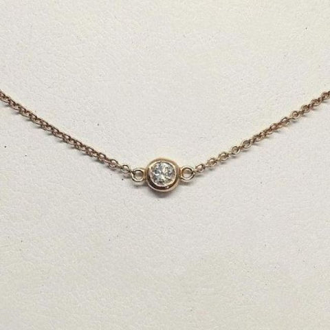 Image of Luxinelle Bezel Single Diamond On 14K Gold Chain - Vs2 F - 14K White Yellow Or Rose Pink Gold - Necklace