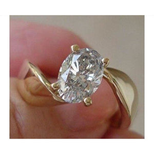 Luxinelle Big 1.24 Carat Oval Diamond Engagement Ring - Egl Certified Diamond 14K Yellow Gold By Luxinelle® Jewelry - Ring