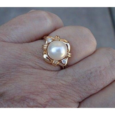 Image of Luxinelle Big 8Mm Pearl And Diamond Ring 14K Yellow Gold By Luxinelle® Jewelry - Ring