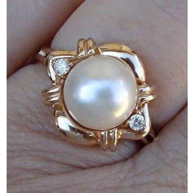 Luxinelle Big 8Mm Pearl And Diamond Ring 14K Yellow Gold By Luxinelle® Jewelry - Ring