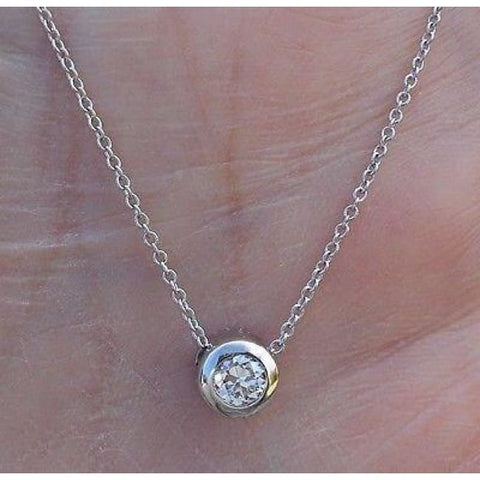 Image of Luxinelle Big Bezel 1/4 Carat Diamond Solitaire Necklace - 14K White Yellow Or Rose Gold - Necklace
