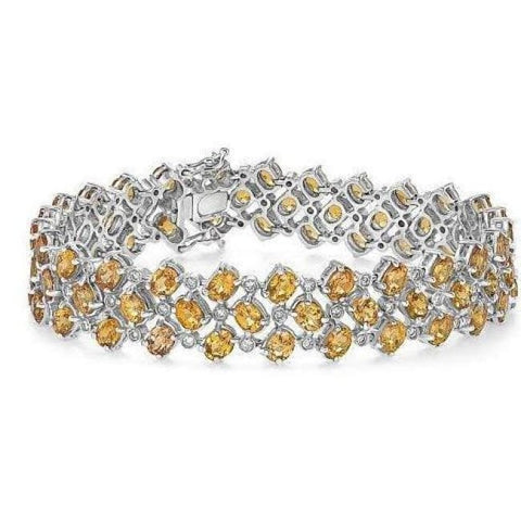 Luxinelle Big Diamond And Citrine Bracelet - 21.61 Tcw 14K White Gold - Bracelet