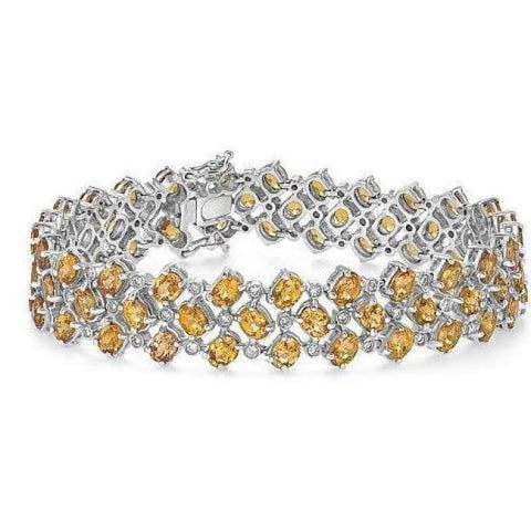 Image of Luxinelle Big Diamond And Citrine Bracelet - 21.61 Tcw 14K White Gold - Bracelet