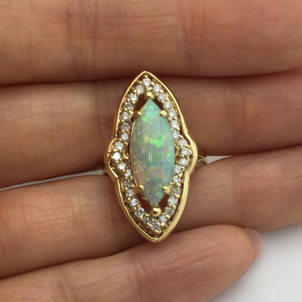 Luxinelle Big Marquise 1.76 Carat Opal Diamond Ring - 14K Yellow Gold By Luxinelle®Jewelry - Ring