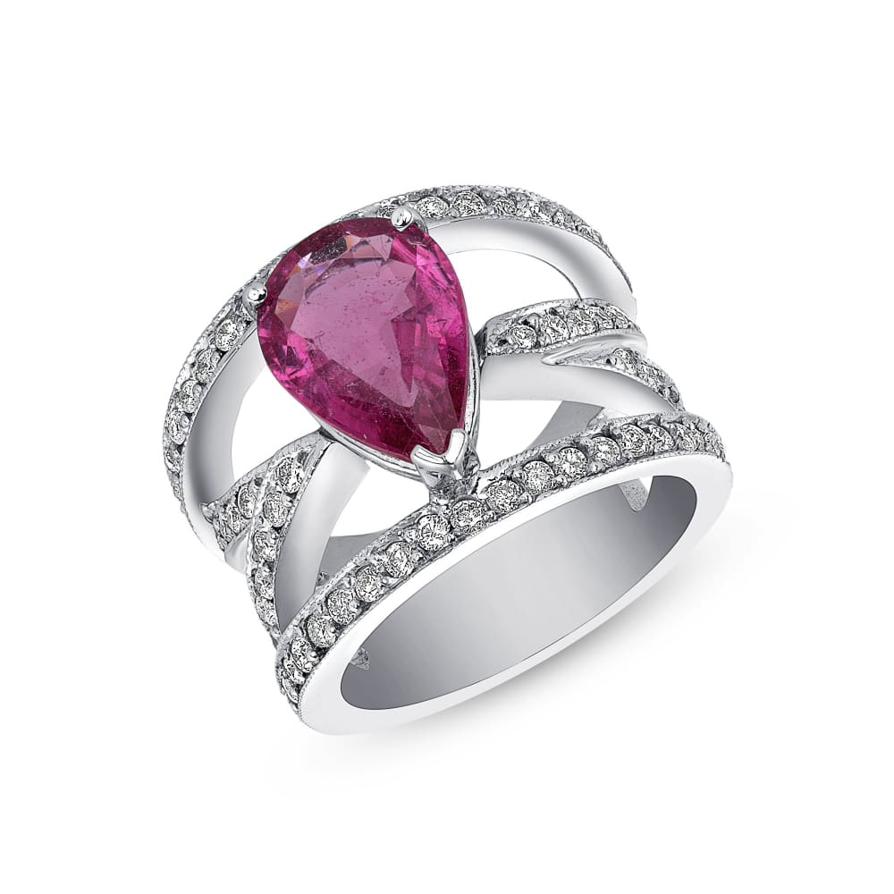 Luxinelle Big Pear Shaped Pink Tourmaline And Diamond Ring - 14K White Gold By Luxinelle®Jewelry - Ring