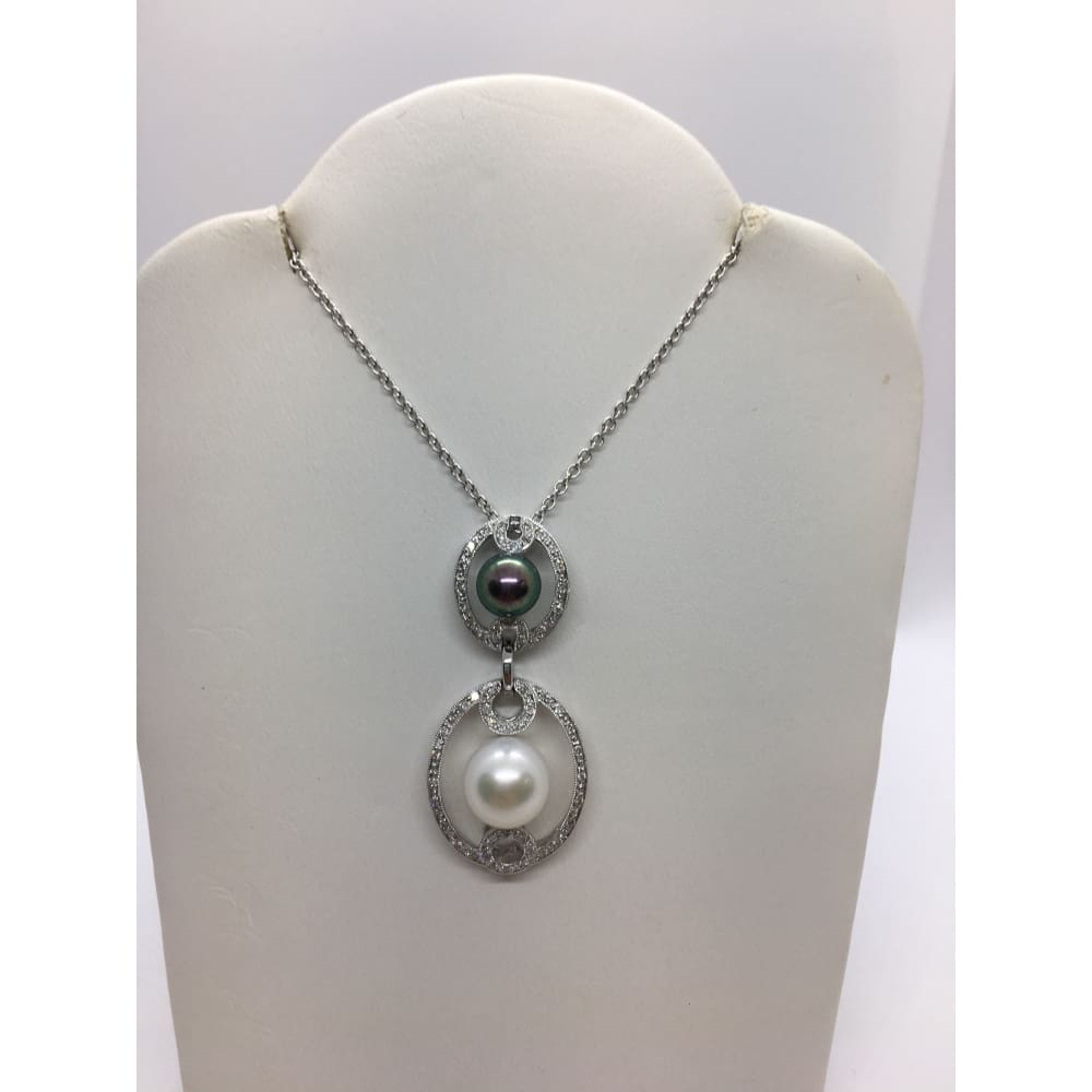 Luxinelle Black And White Fresh Water Pearl Diamond Pendant 18K White Gold - Necklace