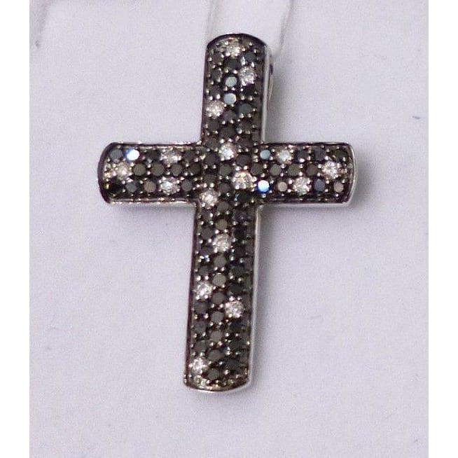 Luxinelle Black Diamond And White Diamond Cross Pendant With Chain- 14K - Necklace