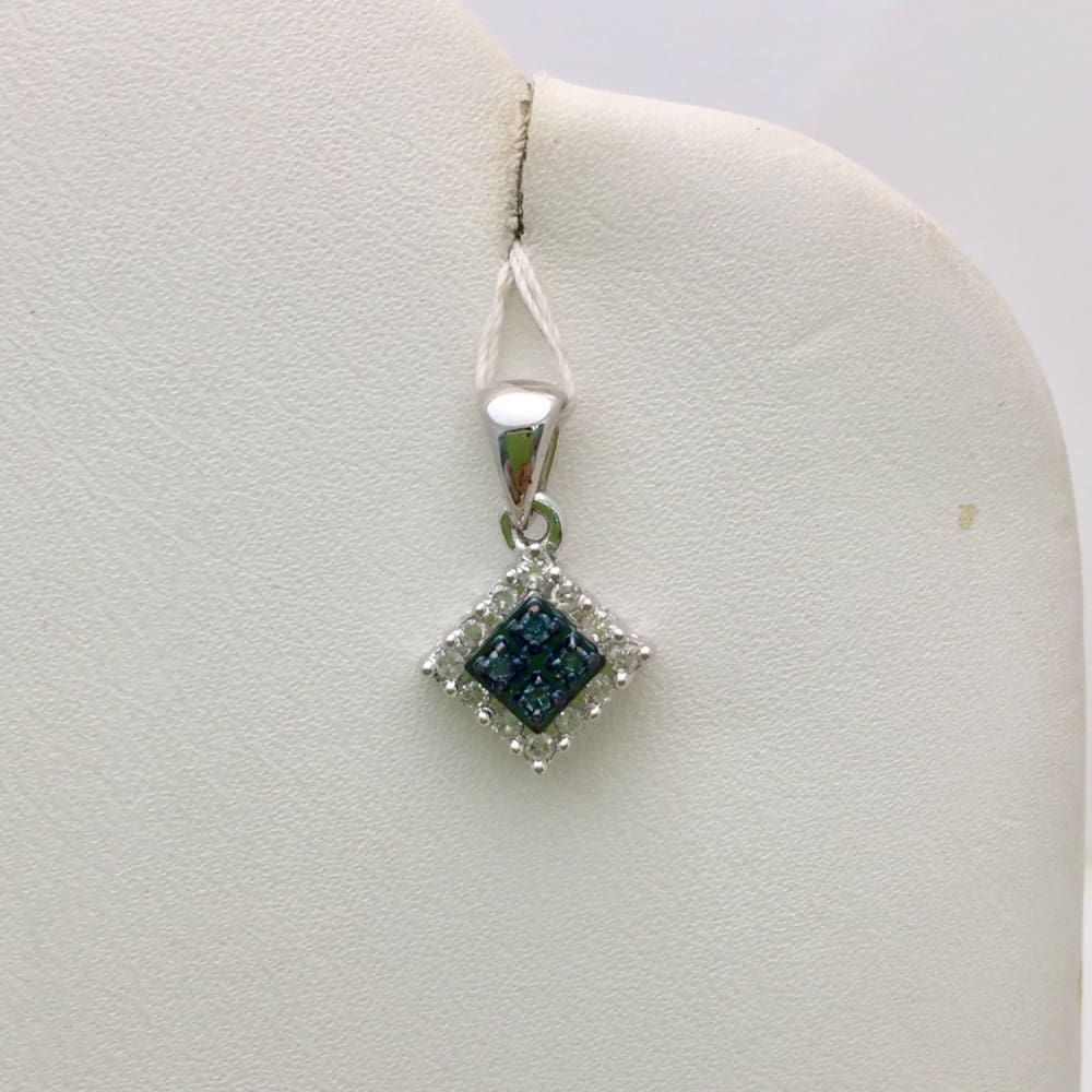 Luxinelle Blue And White Diamond Pendant - 10K White Gold 0.30 Tcw - Necklace