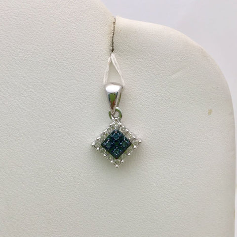 Image of Luxinelle Blue And White Diamond Pendant - 10K White Gold 0.30 Tcw - Necklace