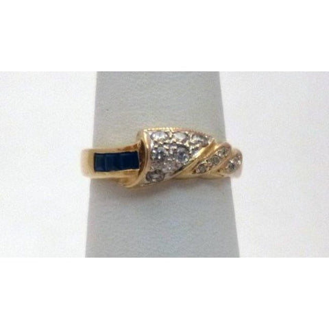 Luxinelle Blue Sapphires And Diamonds Ring - 14K Yellow Gold By Luxinelle®Jewelry - Ring