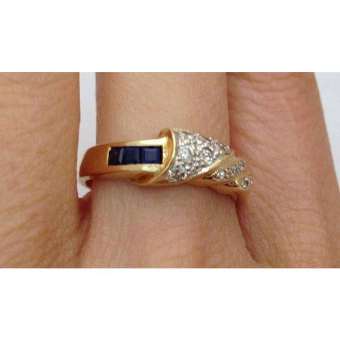 Image of Luxinelle Blue Sapphires And Diamonds Ring - 14K Yellow Gold By Luxinelle®Jewelry - Ring