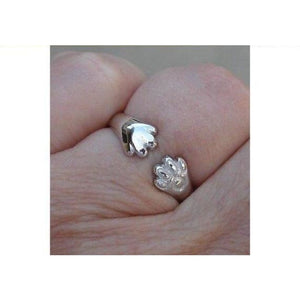 Luxinelle Cat Or Dog Lover Paw Print Ring - 18K White Gold By Luxinelle®Jewelry - Ring