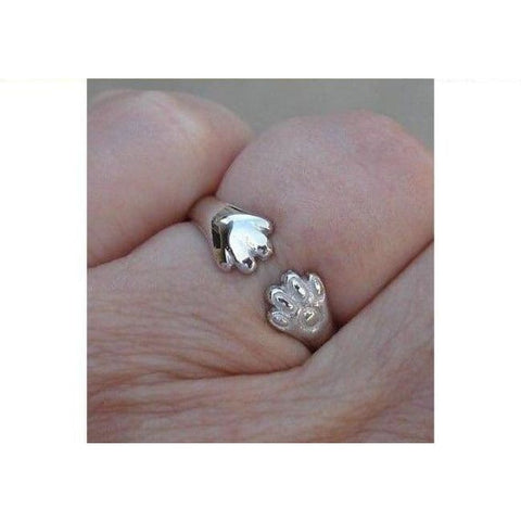 Image of Luxinelle Cat Or Dog Lover Paw Print Ring - 18K White Gold By Luxinelle®Jewelry - Ring
