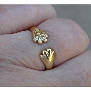 Luxinelle Cat Or Dog Lover Paw Print Ring - 18K Yellow Gold - Ring