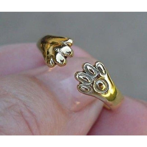 Image of Luxinelle Cat Or Dog Lover Paw Print Ring - 18K Yellow Gold - Ring