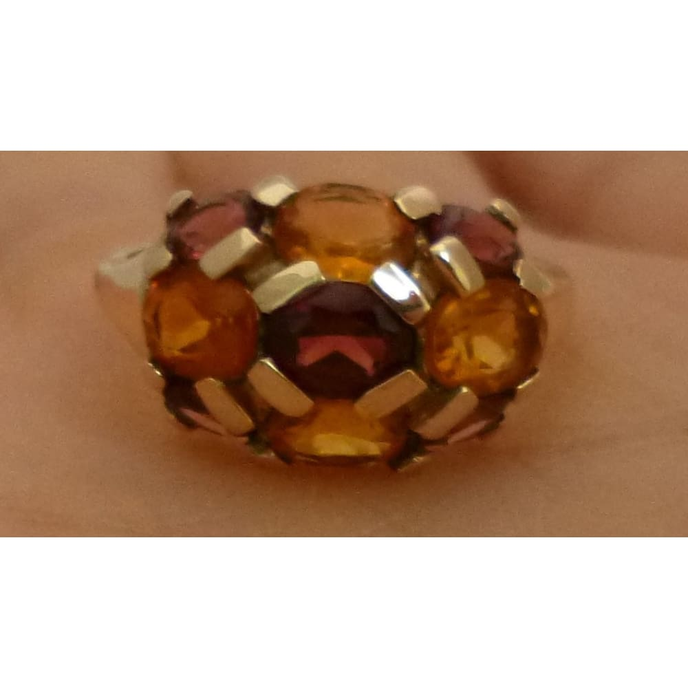 Luxinelle Citrine And Garnet Yellow Gold Ring - Multicolor Orange And Brown By Luxinelle®Jewelry - Ring