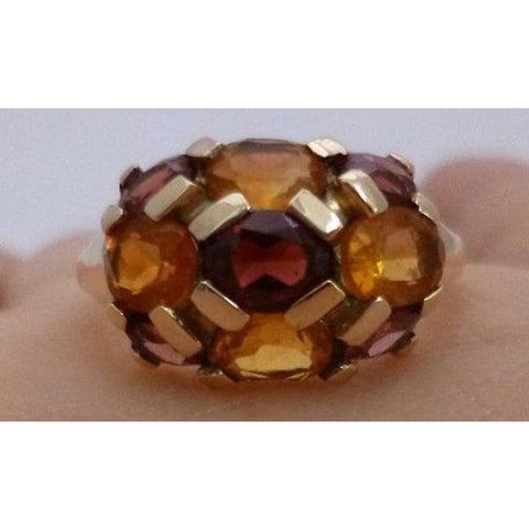 Image of Luxinelle Citrine And Garnet Yellow Gold Ring - Multicolor Orange And Brown By Luxinelle®Jewelry - Ring