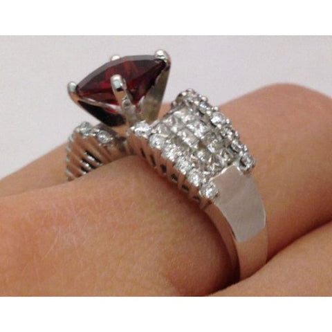 Image of Luxinelle Cushion Shape Checkerboard Cut Red Garnet And Diamond Cocktail Statement Ring - 18K White Gold By Luxinelle®Jewelry - Ring
