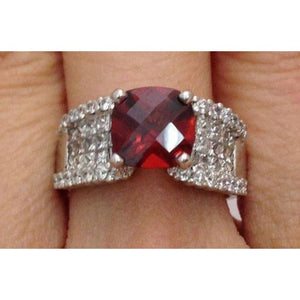Luxinelle Cushion Shape Checkerboard Cut Red Garnet And Diamond Cocktail Statement Ring - 18K White Gold By Luxinelle®Jewelry - Ring