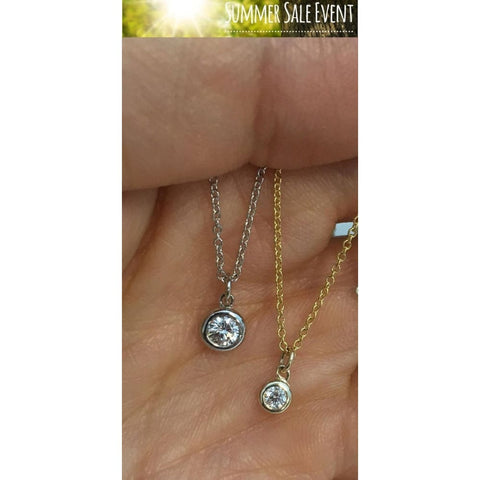 Image of Luxinelle Dainty Minimalist Bezel Set Diamond On A Chain Vs2 F Dangling Free Slide Pendant 14K Italian Gold Chain - Necklace