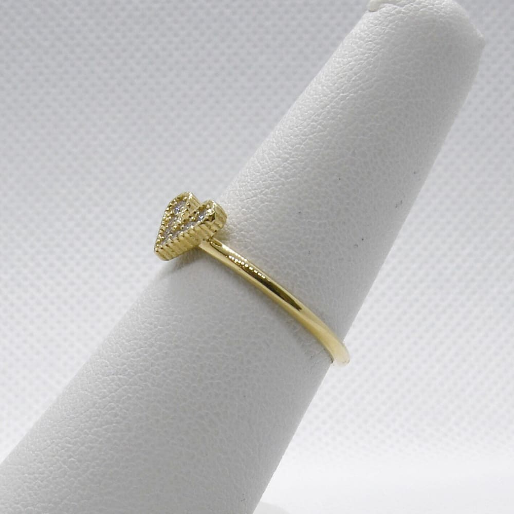 Luxinelle Diamond Heart Ring 14K Yellow Gold - 0.07 Tcw Promise Ring By Luxinelle®Jewelry - Ring