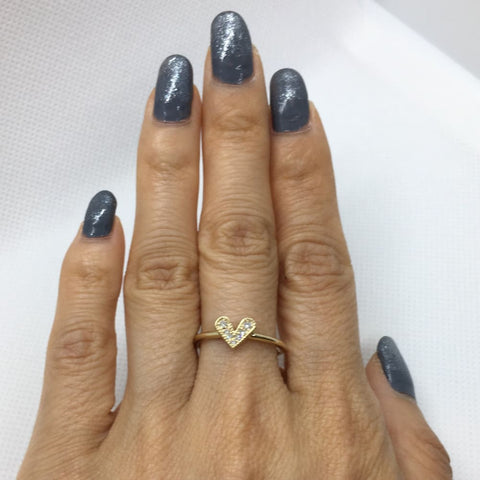 Image of Luxinelle Diamond Heart Ring 14K Yellow Gold - 0.07 Tcw Promise Ring By Luxinelle®Jewelry - Ring