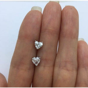 Luxinelle Diamond Heart Stud Earrings - Si1 G 14K White Gold - Earrings