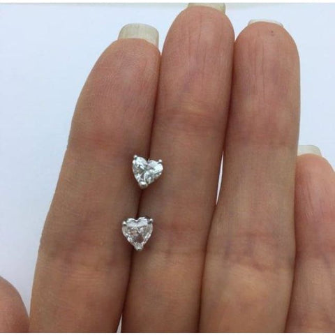 Image of Luxinelle Diamond Heart Stud Earrings - Si1 G 14K White Gold - Earrings