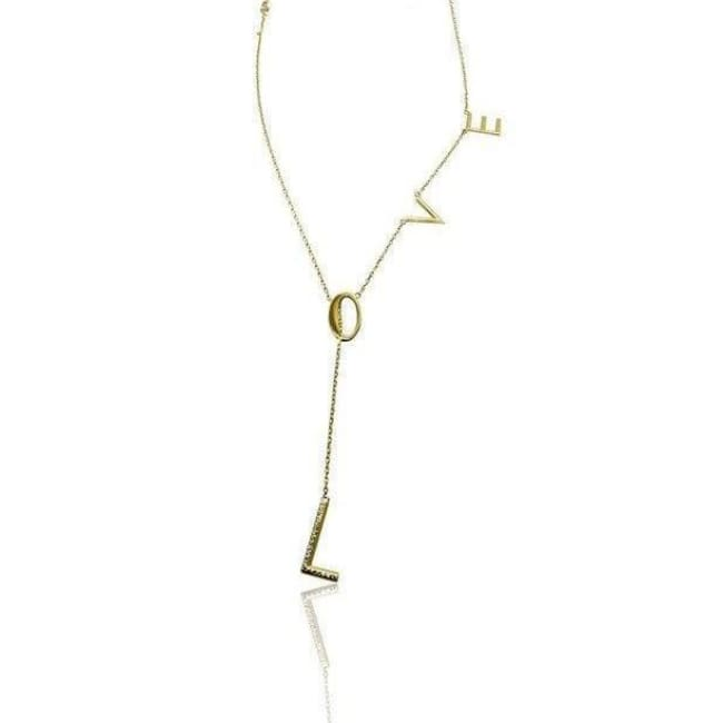 Luxinelle Diamond Love Necklace On An Adjustable Chain In 14K Yellow Gold - Necklace