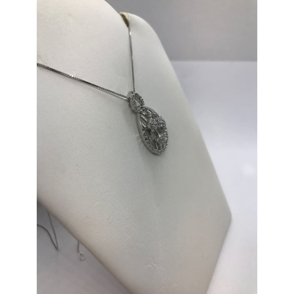 Luxinelle Diamond Teardrop Shaped Pendant With Star Flower Clusters- 14K White Gold - Necklace