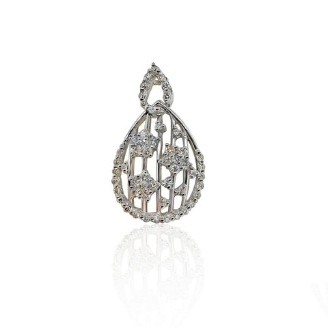Image of Luxinelle Diamond Teardrop Shaped Pendant With Star Flower Clusters- 14K White Gold - Necklace