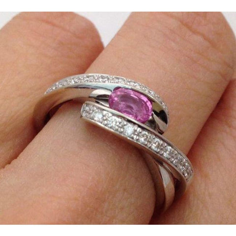 Image of Luxinelle East West Pink Sapphire And Diamond White Gold Ring - 14K By Luxinelle®Jewelry - Ring