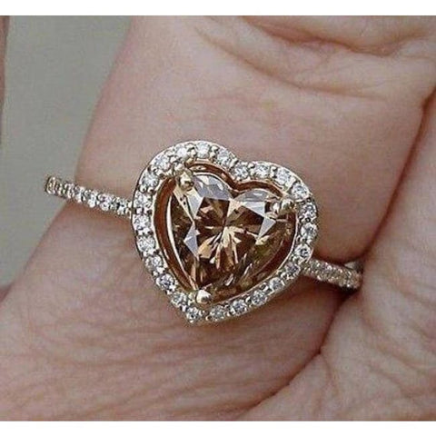 Luxinelle Egl Certified 1 Carat Heart Shaped Brown Diamond Halo Engagement Ring - 14K Yellow Gold By Luxinelle®Jewelry - Ring