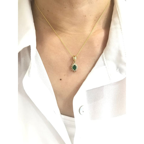 Image of Luxinelle Emerald And Diamond Pendant In 14K Yellow Gold - 0.68 Tcw Oval Cut - Necklace