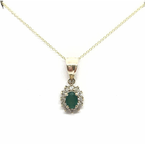 Luxinelle Emerald And Diamond Pendant In 14K Yellow Gold - 0.68 Tcw Oval Cut - Necklace