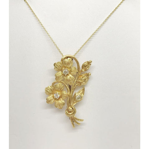 Luxinelle Floral Bouquet Flower Bunch With Diamonds Pendant - 22K Yellow Gold - Necklace